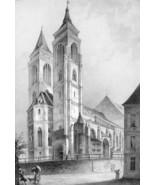 ARCHITECTURE PRINT : NUREMBERG St. Sebaldus Church Germany Exterior View - $21.60