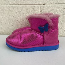 UGG Mini Bailey Button Lizard Shiny Pink Winter Boots Girls 1 1002678K S... - $65.44
