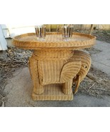 Vintage Wicker Elephant Side End Table Plant Stand Removable Tabletop Bo... - $308.70