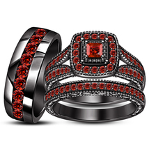 Princess Cut Red Garnet Womens Engagement Ring And His Her Trio Set 925 Silver - £113.09 GBP