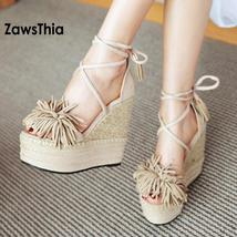 Toe Shoes Heels Tied Shoes Wedge ZawsThia Platform Sandals Cross Strew Open High qAEZ8wX