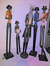 Set of 5 African Musicians Tall Skinny Leg Jazz Band Figurine Statue Scu... - $82.45