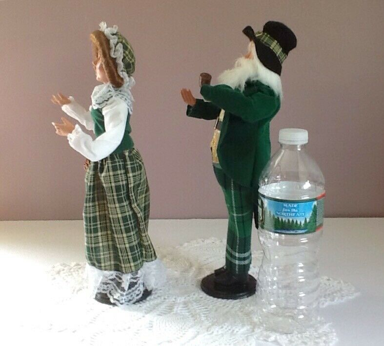 "Irish Christmas Carolers 12"" Man & Woman Posable"