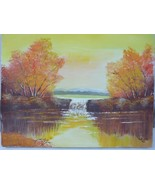 Unframed Landscape Lake Autumn Oil Painting on Canvas 1983 Artist Signed... - $22.46