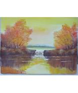 Unframed Landscape Lake Autumn Oil Painting on Canvas 1983 Artist Signed... - $24.95