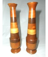 Vtg Artisan Turned Wood Candle Stick Holder Tall Taper Set Mid Century S... - $24.74