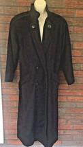 Full Length Wool Coat Size 8 Capri Black Glam USA Made Vintage Shoulder ... - $73.50