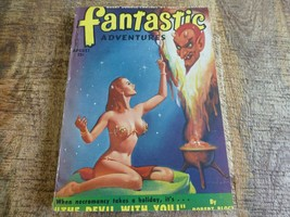Fantastic Adventures August 1950 Pulp Magazine Sci Fi Girl Art Cover - $19.25