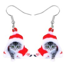 Red Acrylic Christmas Kitten Earrings - One Pair with Random Design and Color image 2