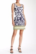 NWT ADRIANNA PAPELL Border Floral Dress Navy Multi Size 10 $120 - $45.00