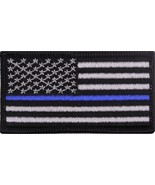 """US Thin Blue Line Flag American Flag Iron-On Patch 1 7/8"""" x 3 3/8"""" - $5.99"""
