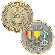 "ARMY VIETNAM VETERAN 3 MILITARY RIBBON 1.75"" CHALLENGE COIN - $16.24"