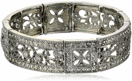Vintage Lace Crystal Filigree Stretch Bracelet - $43.23