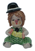 Zampiva Authentic Italian Vintage Shelf Clown in Lime Green with Black Hat - $93.28