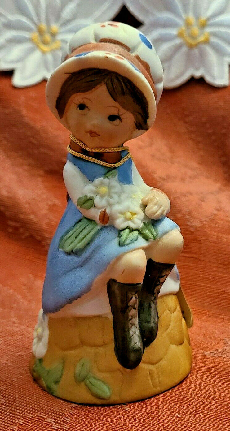Vintage Bisque Porcelain Adorabelles Bell Flower Girl Handcrafted Jasco 1979