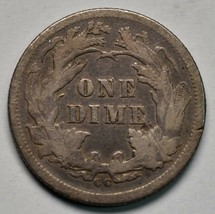 1877CC Silver Seated Dime 10¢ Coin Lot# A670 image 2