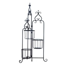 Plant Stands, Outdoor Standing Rustic Black Iron Three Tier Plant Stand ... - ₹7,992.56 INR