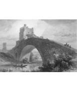 ITALY Rome Ponte Salaro - 1861 Engraving Antique Print - $26.40