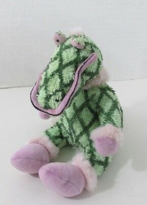 Primary image for Home House London terry cloth plush green alligator diamond print pink eyes fur