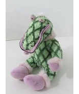 Home House London terry cloth plush green alligator diamond print pink e... - $14.84