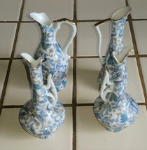4qty LEFTON Blue Paisley Bud Vase Bud Vases Hand Painted 2169 - $49.99
