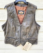 New Harley Davidson Womens Motor Cycle Genuine Brown Leather Vest - Size XL - $143.55