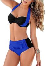 Windowpane Push Up Padded Halter Bikini Set Small (S) Navy / Black Swimsuit