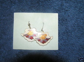 Vintage SIGNED Carrib Enamel Crane Bird Dangle Earrings - $9.49