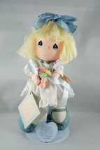 Precious Moments Applause Last Forever Plush Doll Holding Flowers Blue 1988 - $10.38