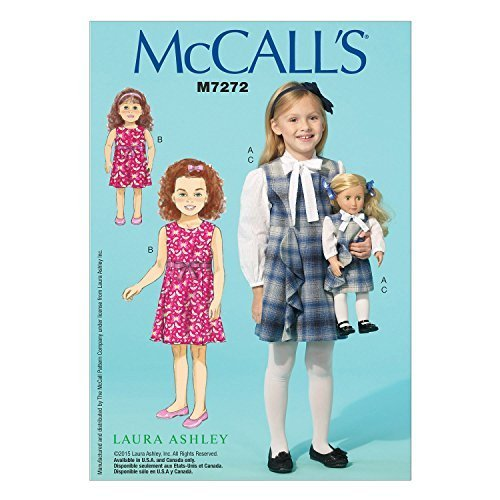 """McCall's Patterns M7272 Children's/Girls'/18"""" Dolls' Blouse & Jumpers, CL (6-7-8 - $14.21"""