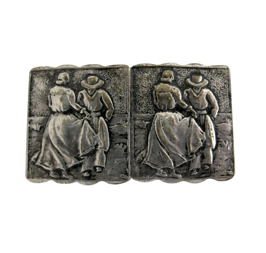 Vintage Industria Argentina Embossed Silver Tone Brooch Pin