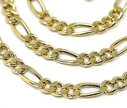18K YELLOW GOLD CHAIN BIG 5 MM ROUNDED FIGARO GOURMETTE ALTERNATE 3+1, 24 INCHES image 2