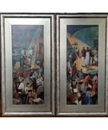 2 LARGE Jazz Club Music Nightlight Textured Prints Paintings Matted Fram... - $199.99
