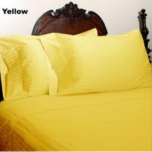 YELLOW STRIPE QUEEN SIZE 4 PIECE SHEET SET 800 TC 100% EGPYTIAN COTTON - $65.84