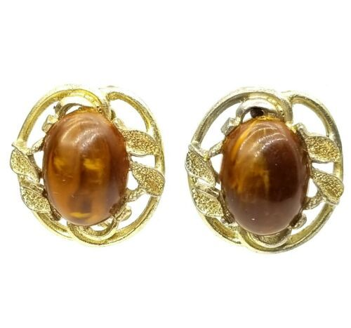 Vintage Gold Tone Leaf & Cabochon Clip On Earrings  - $14.85