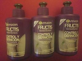 3 Pack Garnier Crema Para Peinar Rizos Poderosos Con Proteina Y Aceite De Coco - $29.70