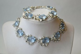 Vintage necklace,earring& bracelet set 1950s large pale blue rhinestones... - $72.26