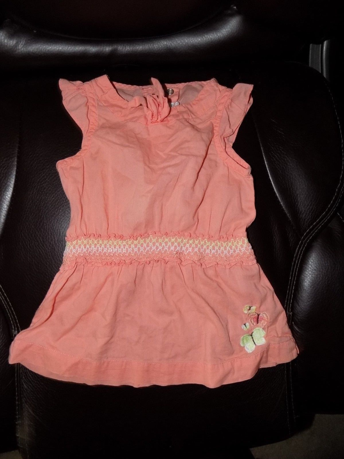 Primary image for Janie And Jack Butterfly Peach Solid Summer Dress Size 6/12 Months Girl's EUC