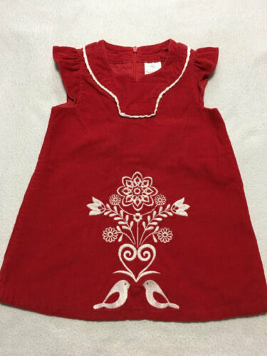 Primary image for Hanna Andersson 80 18 24 M Red Corduroy Swedish Love Bird Dress