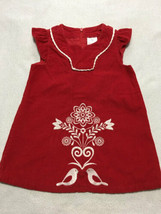 Hanna Andersson 80 18 24 M Red Corduroy Swedish Love Bird Dress - $14.99