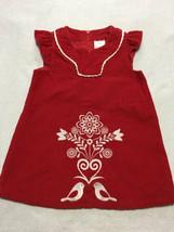 Hanna Andersson 80 18 24 M Red Corduroy Swedish Love Bird Dress - $14.99
