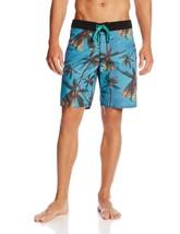 NWT RVCA Men's Vintage Brushed Palm Town Swim Trunk, Blue 36 M5115PAL - $24.25
