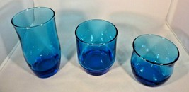 Anchor Hocking Lot 3 Bright Blue - Glasses Water Tumbler Wine Vintage 1960s - $6.93