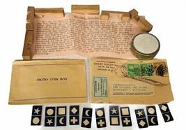 Magician toys vtg Magic Shop Tricks 1940s Okito Coin Box blocks Derby se... - $123.75