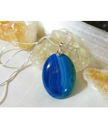 Necklace with Blue Banded Agate Pendant, Sterling Sliver Chain Boho Chic B - $19.79