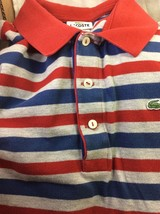 Men Lacoste Polo, L, Striped Colors Red, Navy on Grey. - $10.40