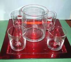 Gorham Mixed Drink 6 Pc. Set 4 Dof's Ice Bucket & Red Tray Reindeer Holiday New - $29.99