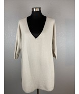 Eileen Fisher Womens Sweater M Beige 100% Cotton V Neck - $98.99
