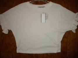 Gypsie & Moondust Size XS ivory short ruffle sleeve Crop Top NWT - $15.83