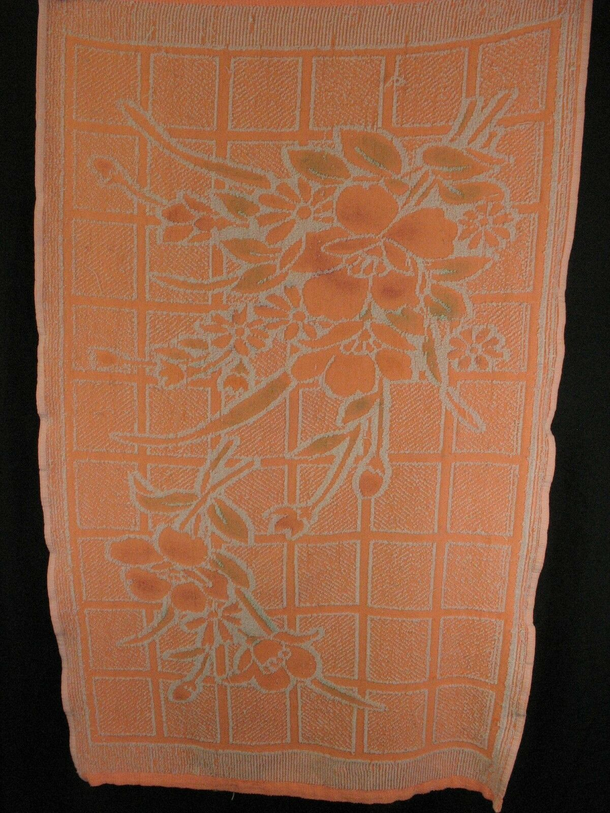 Unitex Intl Vintage Bath towel Neon Orange Floral image 5